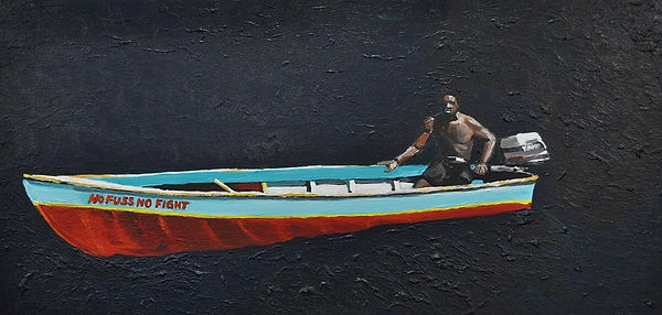 karibik, boot, boat, native, africa, no full no fight, karibik reisen, acrylbilder, art, arts hamburg, rastafari