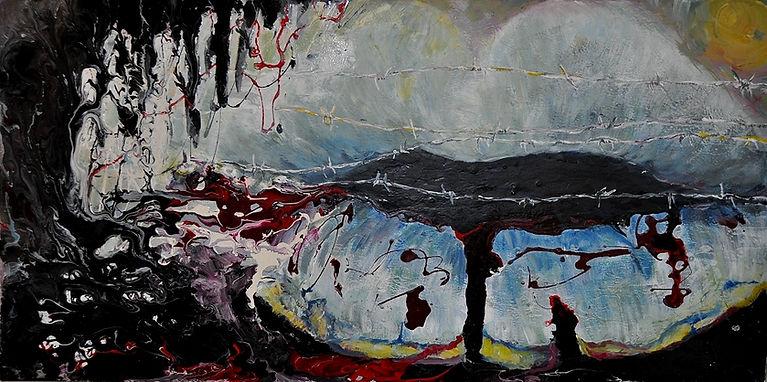 """Alles gut. Acryl und Lack Gemälde aus der Reihe LIPPENBEKENNTNISSE, viele Gemälde im selben Format 80 x 40 x 8 cm - die meisten Acrylbilder, flach wie die Sprache selbst. """"Alles gut."""" ist eine so verbreitete Antwort, die manchmal absurd ist."""