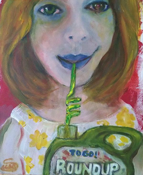 Moderne Kunst / Politische Kunst, die mir am Herzen liegt. Monsanto Bayer will die Herrschaft über die Welternährung und allem was dazugehört und macht dabei Menschen krank, unglücklich und jagt sie sogar in den Selbstmord. Round-up enthält Glyphosat, das meistverkaufte Pestizid,