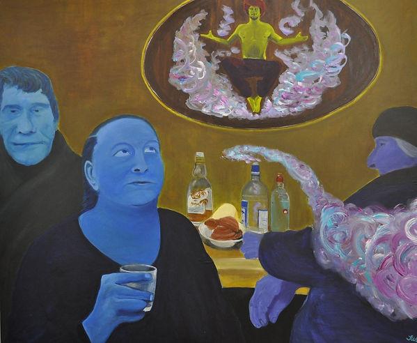 wodka, acryl, gemälde hamburg, dschinn, wodkafrühstück, russland, russische seele, blau, melancholie, gemälde hamburg, arts hamburg, kunst hamburg, hamburg kunst