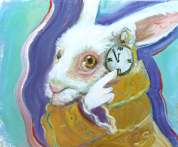"""Ölgemälde im Kleinformat, white rabbit says """"es ist fünf vor zwölf"""" - ode doch schon nach zwölf? Ja, der Hase ist aus Alice im Wunderland. Ich liebe besonders die Verfilmung von Tim Burton. Politisch Kunst! Zeitgeist. Artlantico."""