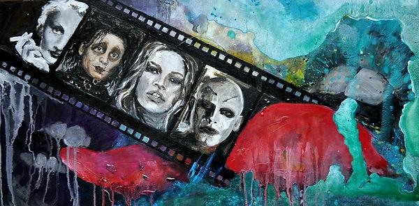acrylbilder, artwork, arts hamburg, kino, marlene dietrick, mephisto, klaus maria brandauer, kate moss, johnny depp, edward mit den scherenhänden, tim burton, fan, cinema,