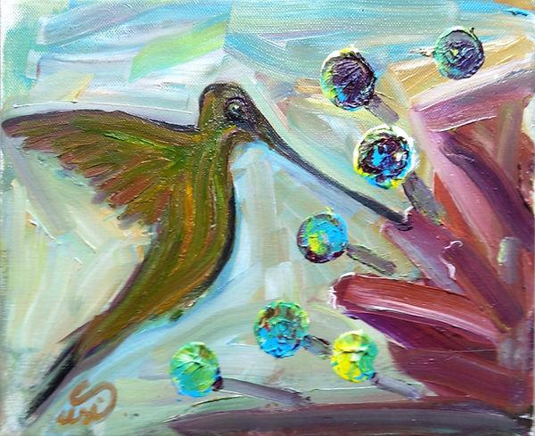 Ölgemälde, Kolibri, Humming-Bird, modern world, birds, kunst hamburg, artwork, kolibri malerin