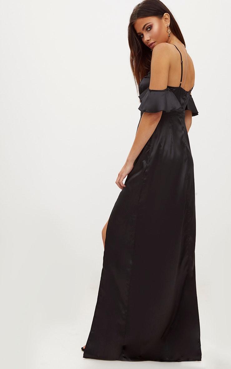 čierne saténové šaty výpredaj 45€