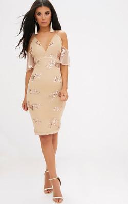 béžové šaty s flitrami výpredaj 72€
