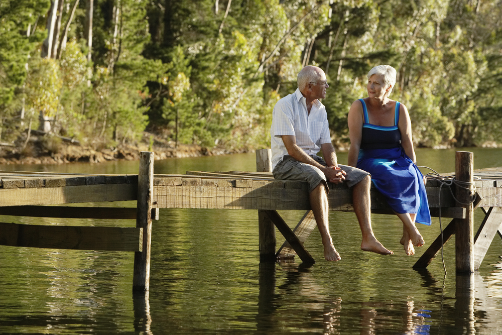 shutterstock middle aged couple on dock
