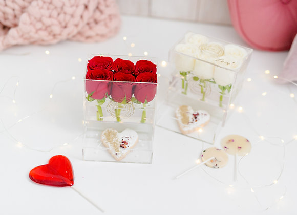 Sweet Valentine - 6 Roses in Crystal Clear Box