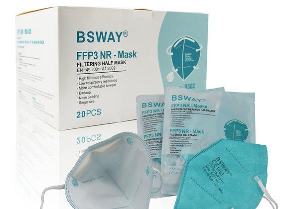BSWAY® 20X FFP3 Atemschutzmaske Einzelverpackt CE1463 ohne Ventil Grün