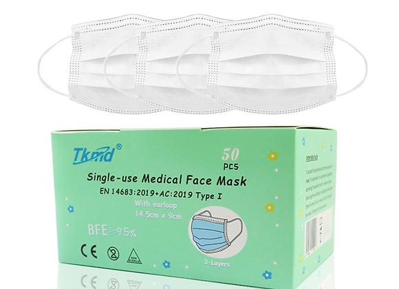 Tkmd ® Medizinische Kids Masks Einweg-Kindermasken TYP I Weiß 50 St. / Box