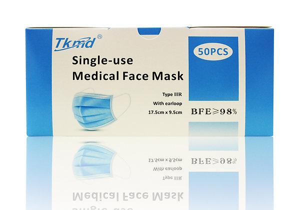 Tkmd ® Medizinische OP Masken Atemschutz TYP IIR CE EN14683 50St.Box