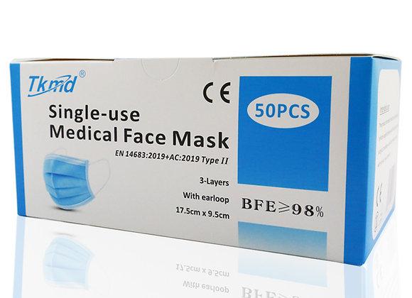 Tkmd ® Medizinische Mundschutz OP 3-Lagig TYP II-Maske CE EN14683 BFE 98%