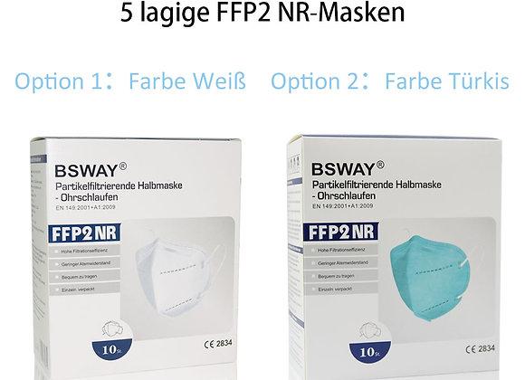 BSWAY® ZN9501 FFP2 Maske CE 2834/ 10St. Box Einzeln verpackt Türkis/Weiß