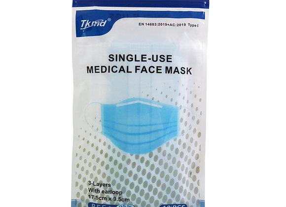 Tkmd ® Medizinische OP Masken Mund und Nasenschutz Typ I 3-Lagig 10St./Beutel