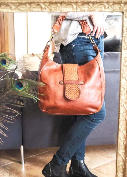 sac en cuir vintage camel