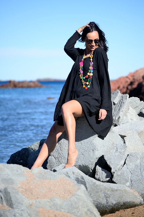 robe coton noire étoile