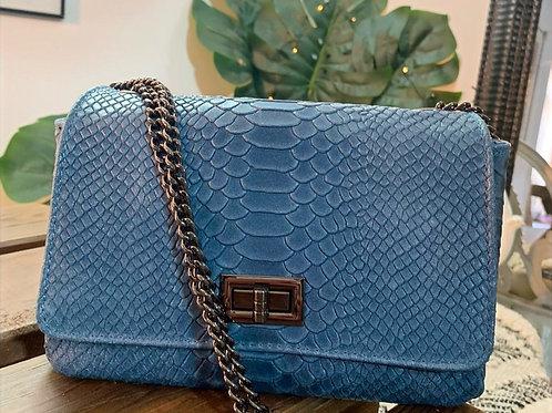 Petit sac ELEGANTE Python bleu jean