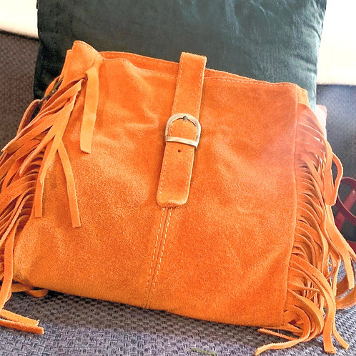 Sac bandoulière à franges LINO orange
