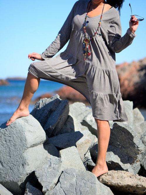 robe ample coton étoile couleur taupe