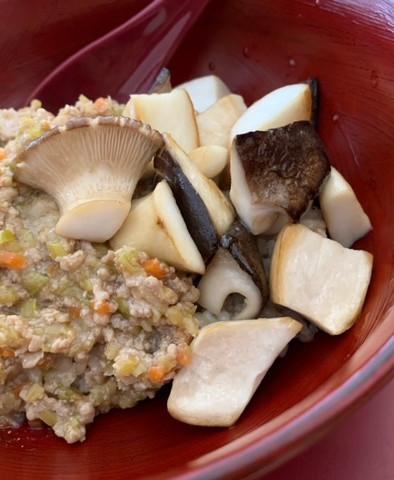 Eryngii sautés et haché de légumes et viande de porc