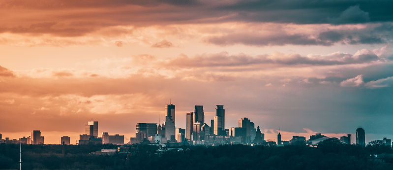 Evening sunset of Minneapolis Minnesota