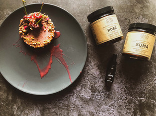 "PLANTFEED// ""ANIMA MUNDI Series // Rose, Suma & Pecan Tart W CBD infused syrup.""// by Kelly Mason"