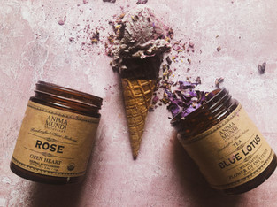 "PLANTFEED// ""ANIMA MUNDI Series // Rose & blue lotus tea plant based icecream.""//by Kelly Mason"