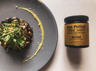 "PLANTFEED// ""SUN POTION Series // Reishi wild mushroom rice & Brazil nut cream.""// by Kelly Mason"