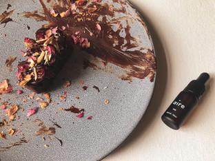 "PLANTFEED// ""AIRE CBD Series // Almond brownies W cherry & CBD Infused 99% Dark.""// by Kelly Mason"
