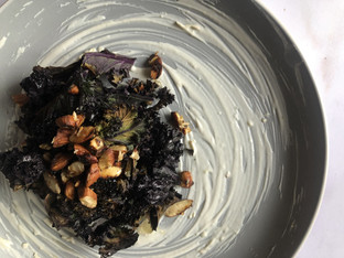 "PLANTFEED// ""Crispy purple Kale W Wasabi yogurt & sesame toasted almonds.""//by Kelly Mason"