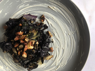 "PLANTFEED// ""Crispy purple Kale W Wasabi yogurt & sesame toasted almonds.""//by Kelly Mason"