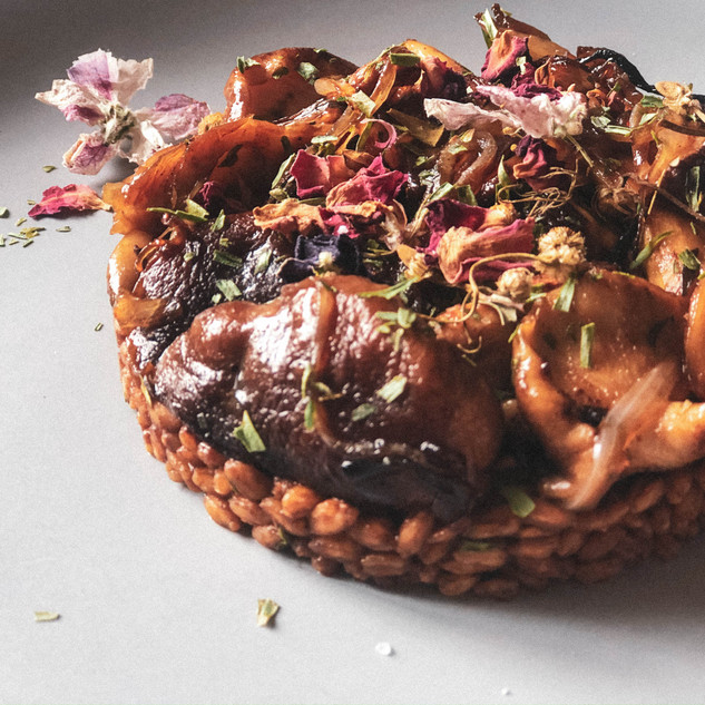 Reishi infused Pearl barley and wild maple mushrooms