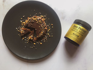 "PLANTFEED// ""SUN POTION Series // Reishi & salted caramel tart W cacao pecan base.""// by Kelly Mason"