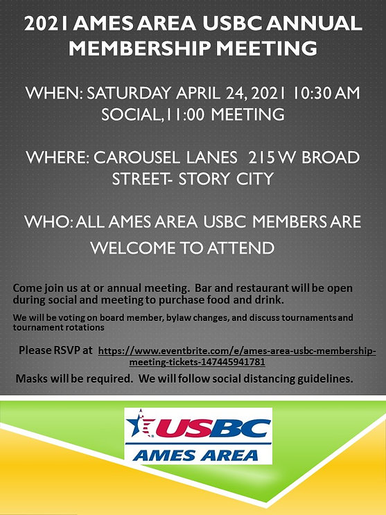 2021 Ames Area USBC Annual Membership Me