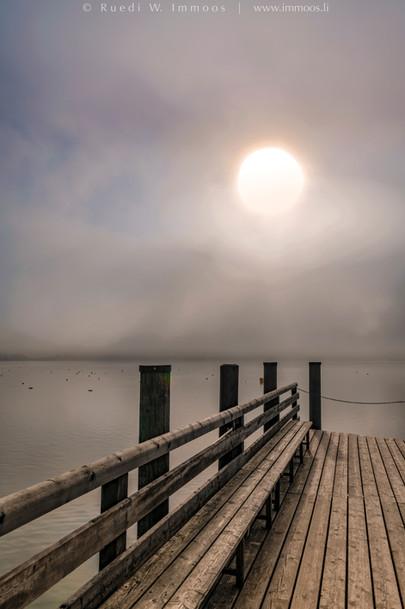 Chiemsee-Schafwaschen-Steg-mit-Nebelsonn