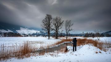 Winterlandschaft mit Teich