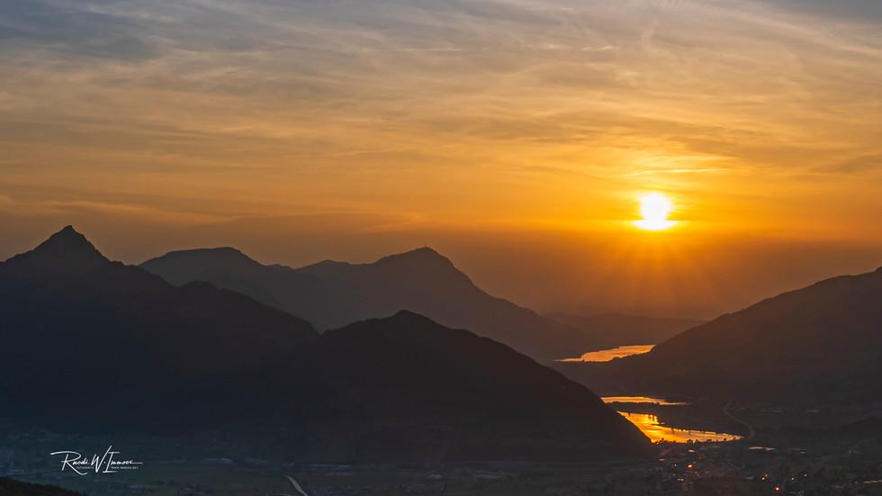 Sonnenuntergang, goldenes Licht