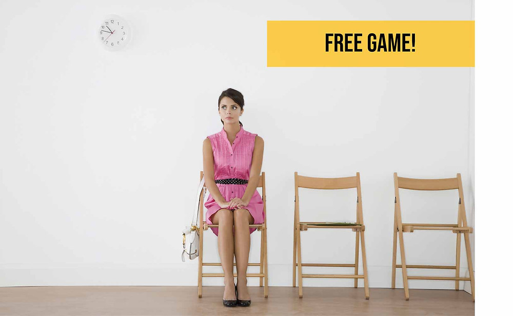 Escape Room: Waiting Room promo; woman sitting in waiting room