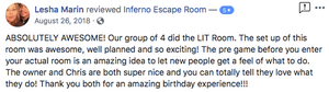 5 Star Facebook Review for Inferno Escape Room from Lesha M.