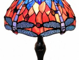 "13 T121508 Leadlight Table Lamp 12"""