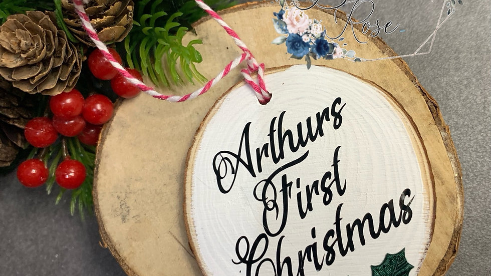 Wooden First Christmas Bauble