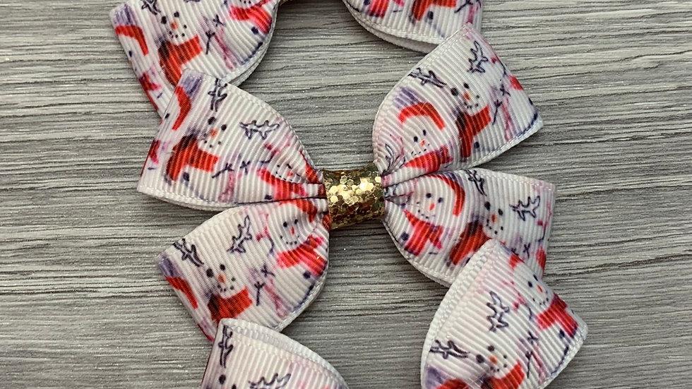 Christmas snowman ribbon bow