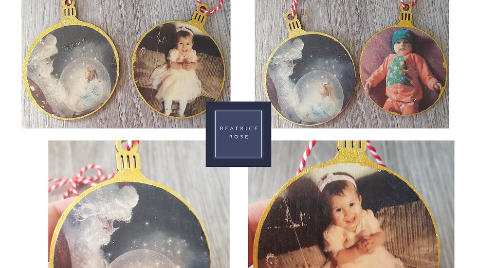 Wooden photo personalised baubles