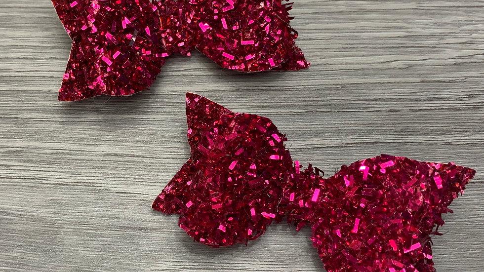 Hot pink tinsel bow