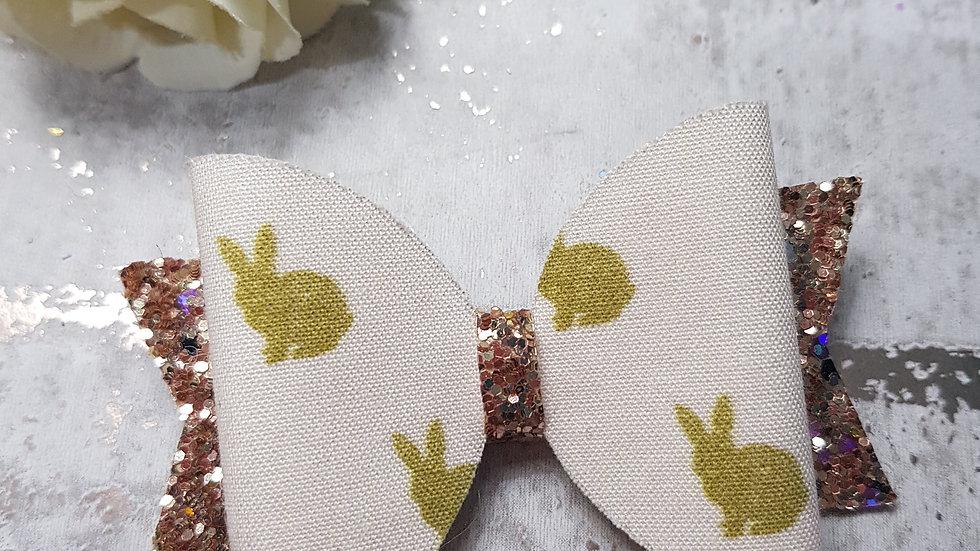 Gold bunny print hair bow