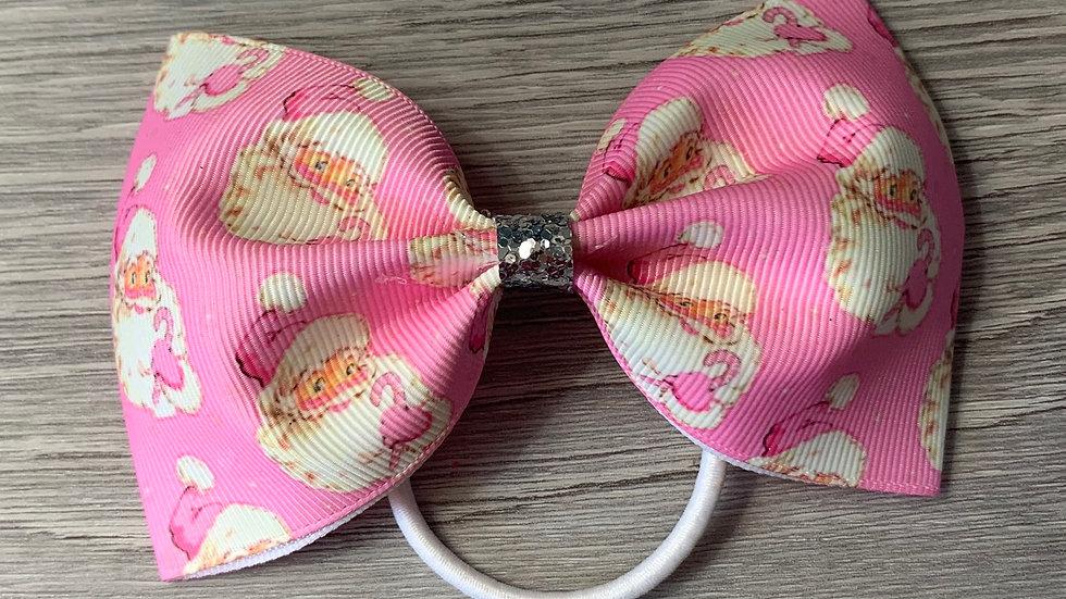 Christmas pink Santa large tux bow