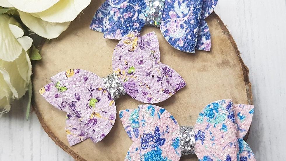 Sparkly floral hair bow set