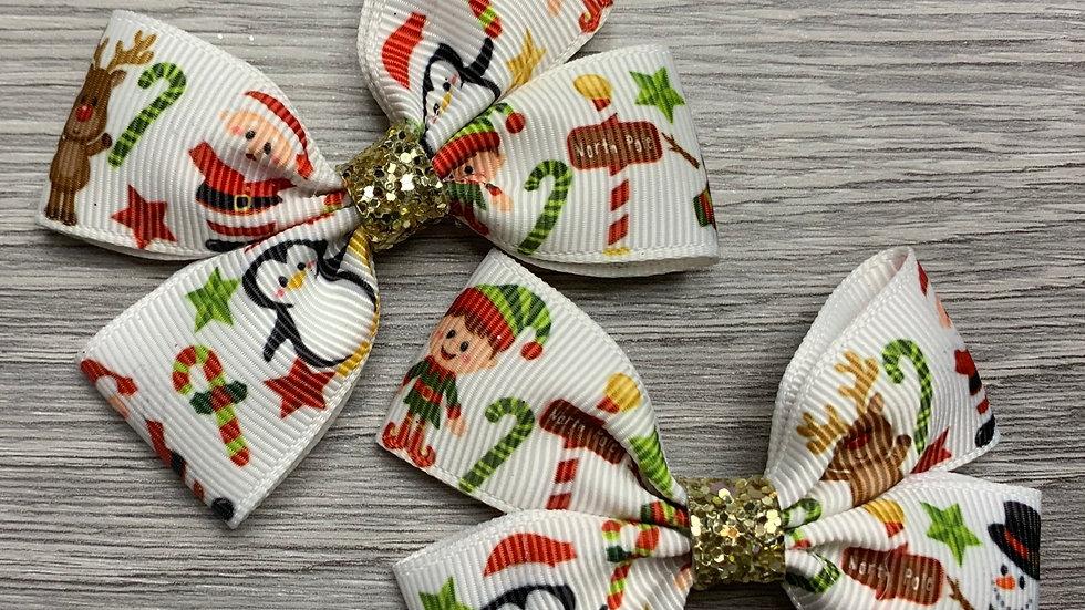 Christmas themed ribbon bow