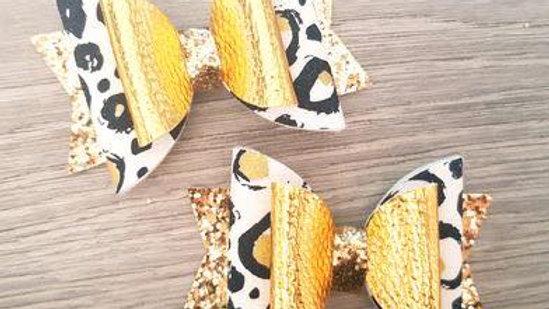 Gold Leopard Print Bow