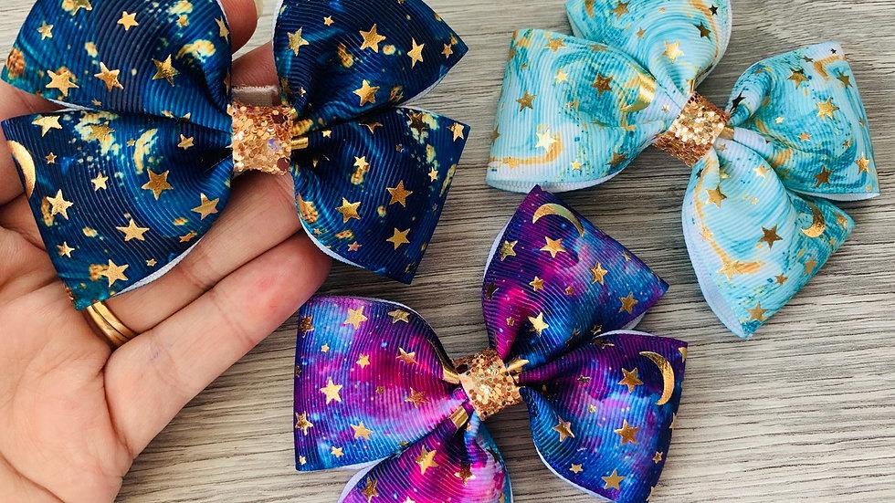 Starry night ribbon bow