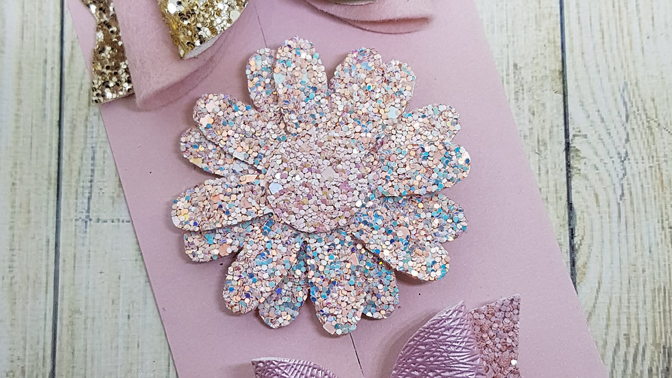 Floral sparkly bow set